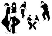 Silhouettes of dancing — Stock Vector