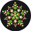 Circular ornament of flowers and leaves — Image vectorielle