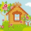 House and flowering trees - Stock Vector