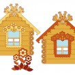 Stock Vector: Painted wooden houses