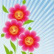Flowers are smiling sun — Stock Vector