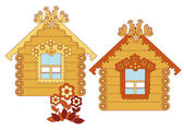 Painted wooden houses — Stock Vector