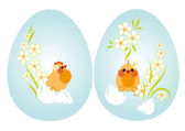 Easter eggs and chickens — Stock Vector
