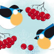 Birds and berries of mountain ash — Imagen vectorial