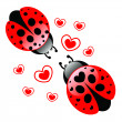 Loving ladybugs - Stock Vector