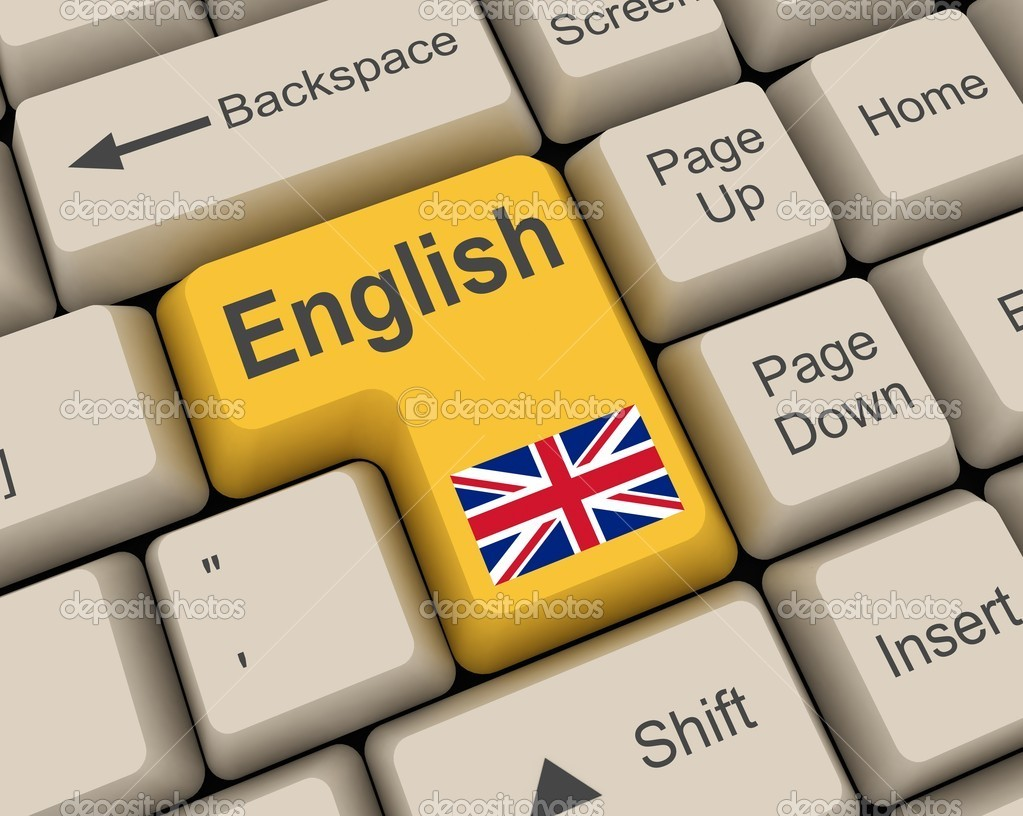 Yellow english key and the flag  Stock Photo #2303133