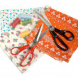 Fabric, threads and scissors - Stock Photo
