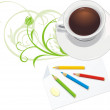 Cup and paper with pencils — Stock Vector