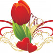 Tulip, two hearts and gothic ornament — Imagen vectorial