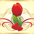 Tulip, two hearts and gothic ornament — Stock Vector