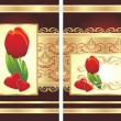 Stock Vector: Tulip, hearts and gothic ornament