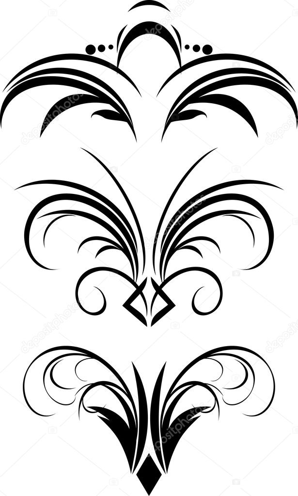 Fragment of gothic ornament. Three patterns. Vector illustration — Stock Vector #2415882