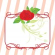 Red rose with floral ornament. Frame — Stock Vector #2469622