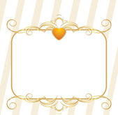 Gold heart with decorative frame — Stock Vector