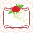 Red rose with decorative frame — Stock Vector