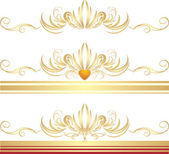 Golden ornaments for three frames — Stock Vector