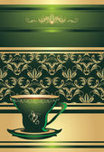 Cup on the decorative background — Stock Vector