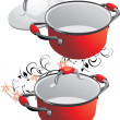 Two empty red pans — Vector de stock  #2494610