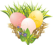 Easter eggs, grass and spring flowers — Stock Vector