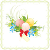 Easter eggs, spring flowers and red bow — Stock Vector