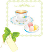 Cup with tea and Easter eggs in frame — Stock Vector