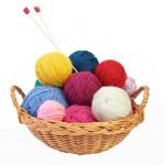 Colorful knitting yarn and needles — Stock Photo