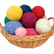Colorful knitting yarn in a basket — Stock Photo