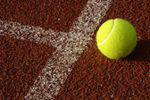 The yellow tennis ball lays behind a restrictive line — Stockfoto
