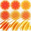 Stock Photo: Nine oranges ripples