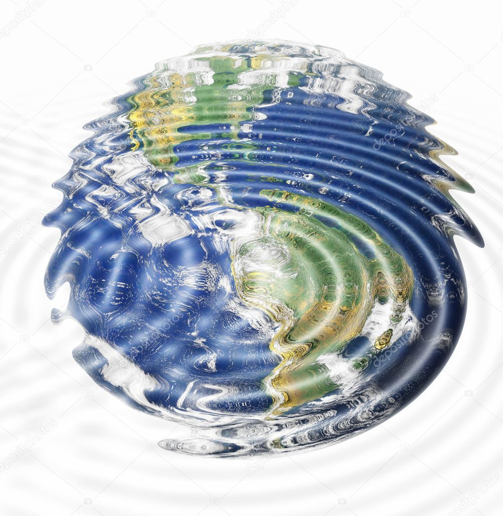 Water ripples and earth image (American Continent) combined, environmental, global warming concept — Stock Photo #2515393