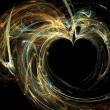 High resolution flame fractal forming multiple hearts — Stock Photo