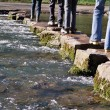 Stock Photo: Crossing river on stepping stones