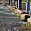 Crossing river on stepping stones — Stock Photo