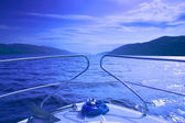 Blue waterscape from boat — Stock Photo