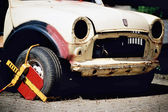 Clamped destroyed car — Stock Photo