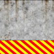 Stock Photo: Metal wall with warning sign