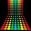 Rainbow glowing halftone dots in rows — Stock Photo