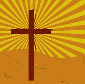 Cross on swirly, grungy sunburst — Stock Photo