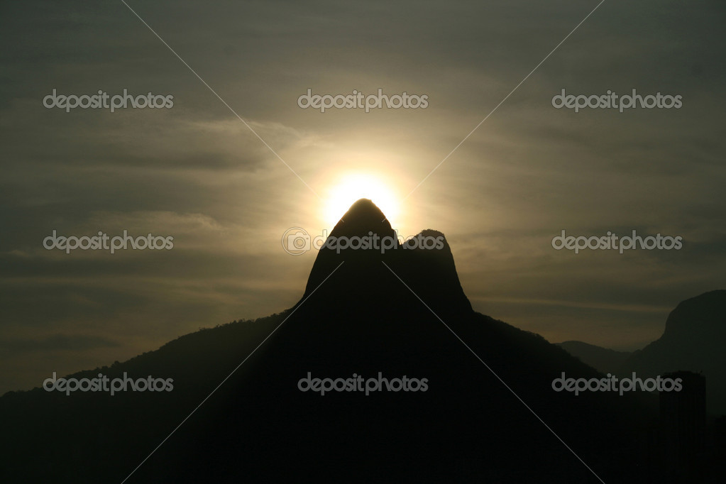 Landmark of Rio de Janeiro. These mountains are called Dois Irmaos - The Two Brothers.  Stock Photo #2218852