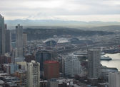 Aerial of Downtown Seattle Mt Rainier — Stock Photo