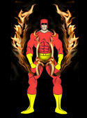 Male Superhero with Flame Harness — Stock Photo