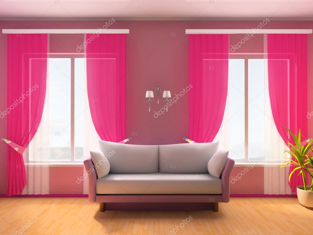 Pink room with a sofa and a window 3d image — Stock Photo #2219511