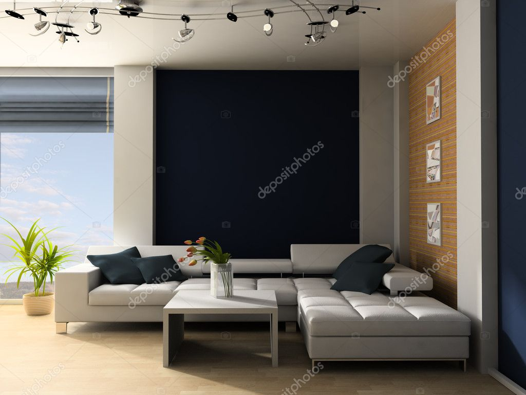 White sofa in a drawing room 3d image — Stock Photo #2276994