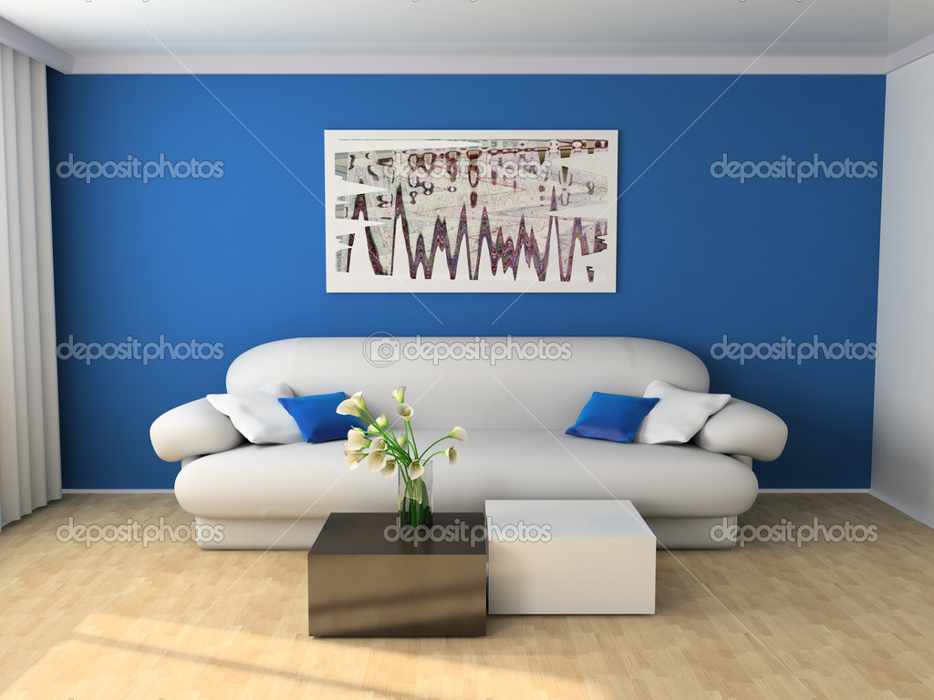 White sofa in a drawing room 3d image — Stock Photo #2277332