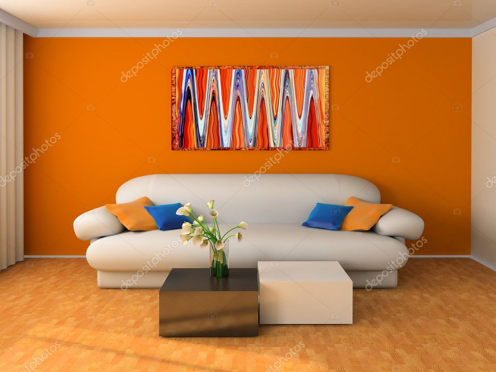 White sofa in a drawing room 3d image — Stock Photo #2278081