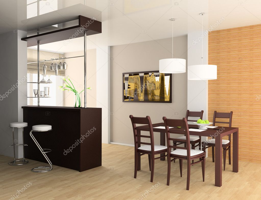 Bar and dining table 3d image — Stock Photo #2279755