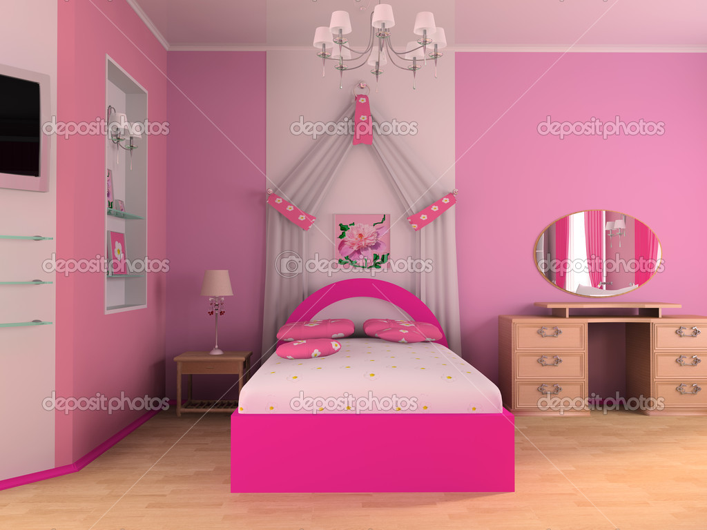 Pink children's room with a bed 3d image — Stock Photo #2470155