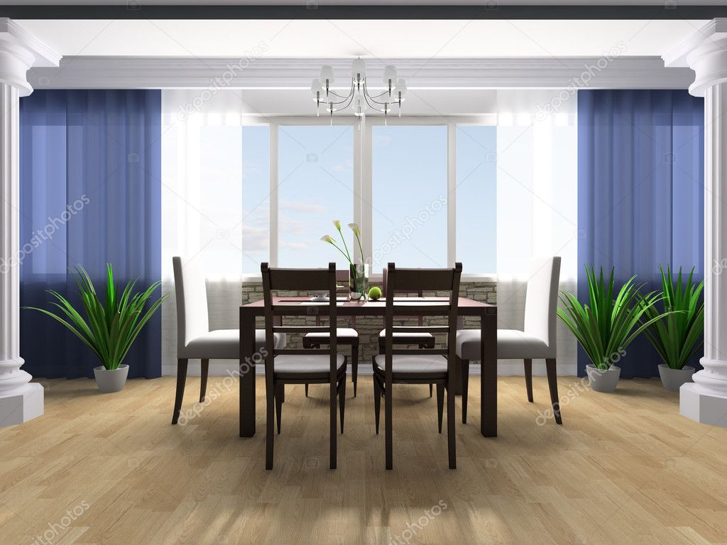 Dining table against a window 3d image — Stock Photo #2636135