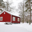 Winter Swedish house — Stock Photo