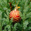 Garden tree with christmas decoration - Stock Photo